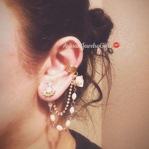Light Pink Rose Boho Ear Cuff Earrings Set
